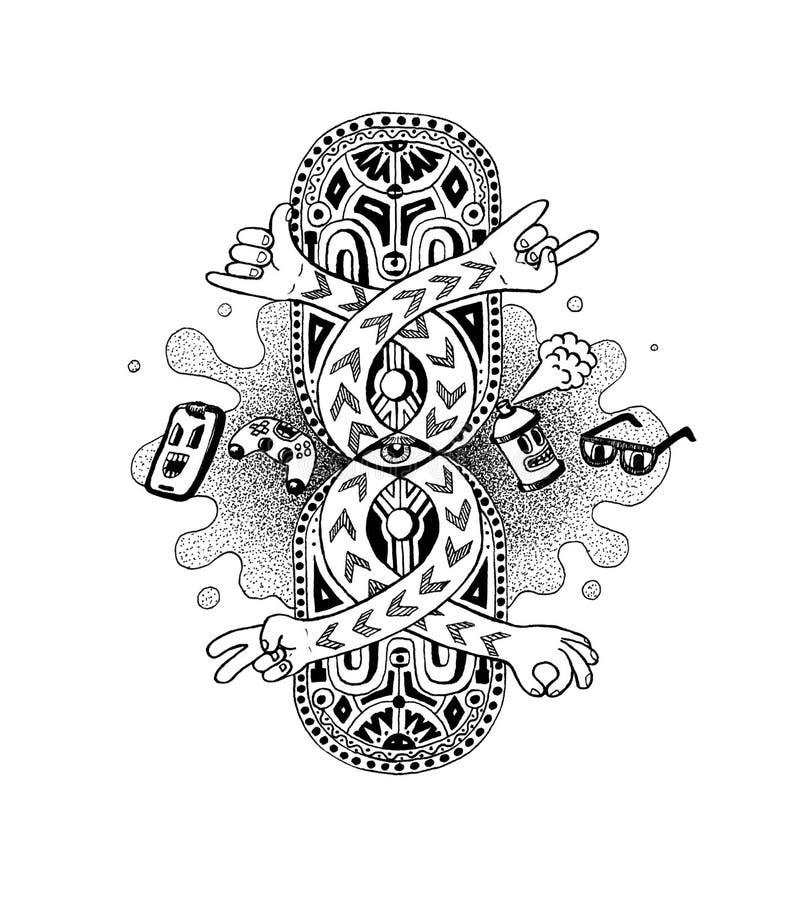 Noir ręka Rysująca wystrzału Doodle pióra atramentu ilustracja, Nowa Pełnoletnia kultura Idol ilustracja, telefon komórkowy, kiśc royalty ilustracja