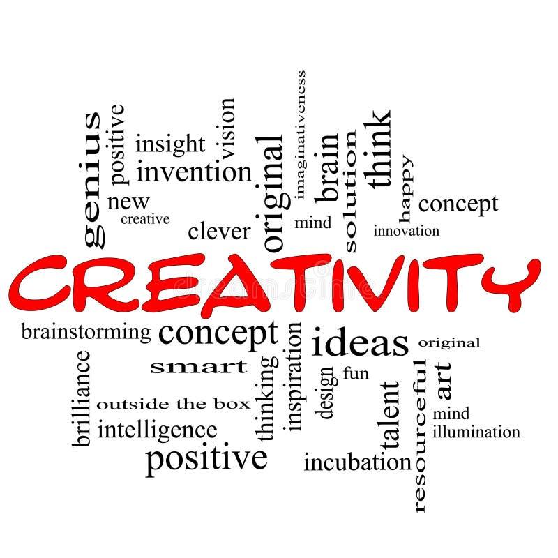 Noir rouge de concept de nuage de mot de créativité illustration libre de droits