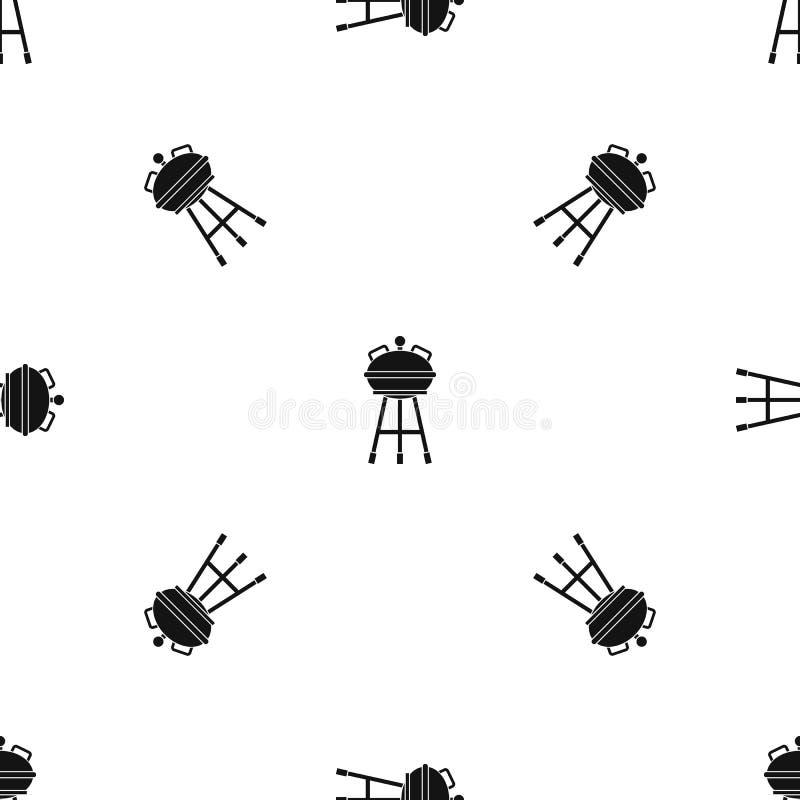 Noir sans couture de modèle de barbecue de bouilloire illustration de vecteur