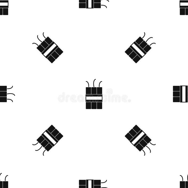 Noir sans couture de modèle d'explosifs de dynamite illustration de vecteur
