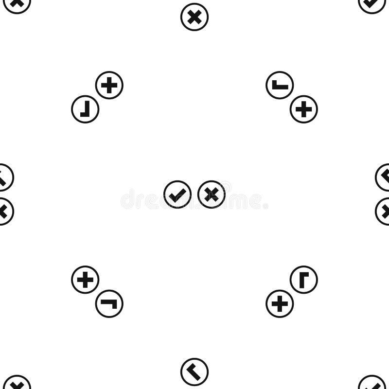 Noir sans couture de modèle de sélection de coutil et de croix illustration de vecteur