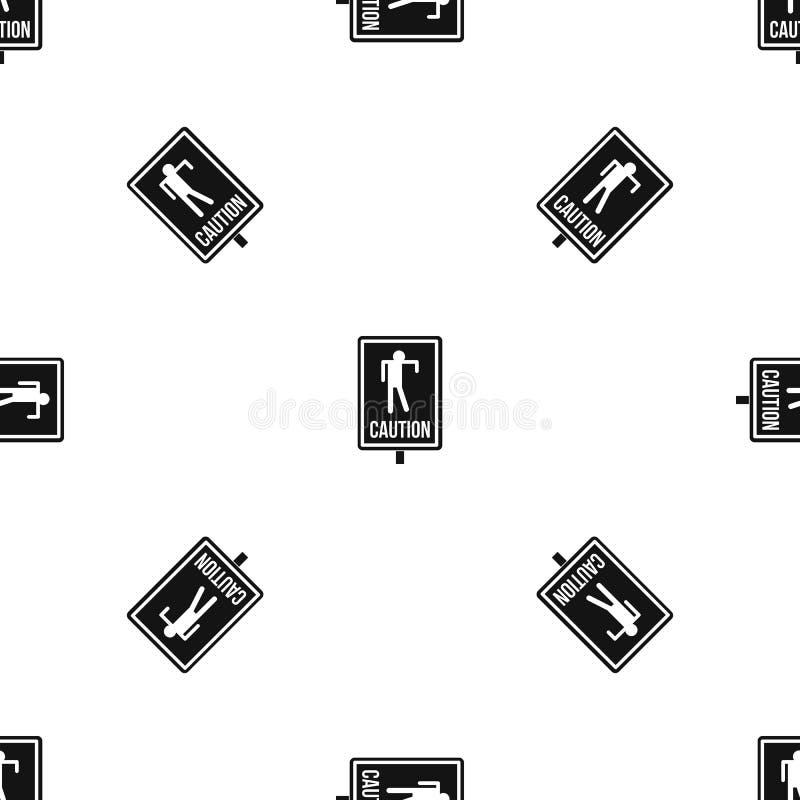 Noir sans couture de modèle de panneau routier de zombi illustration de vecteur