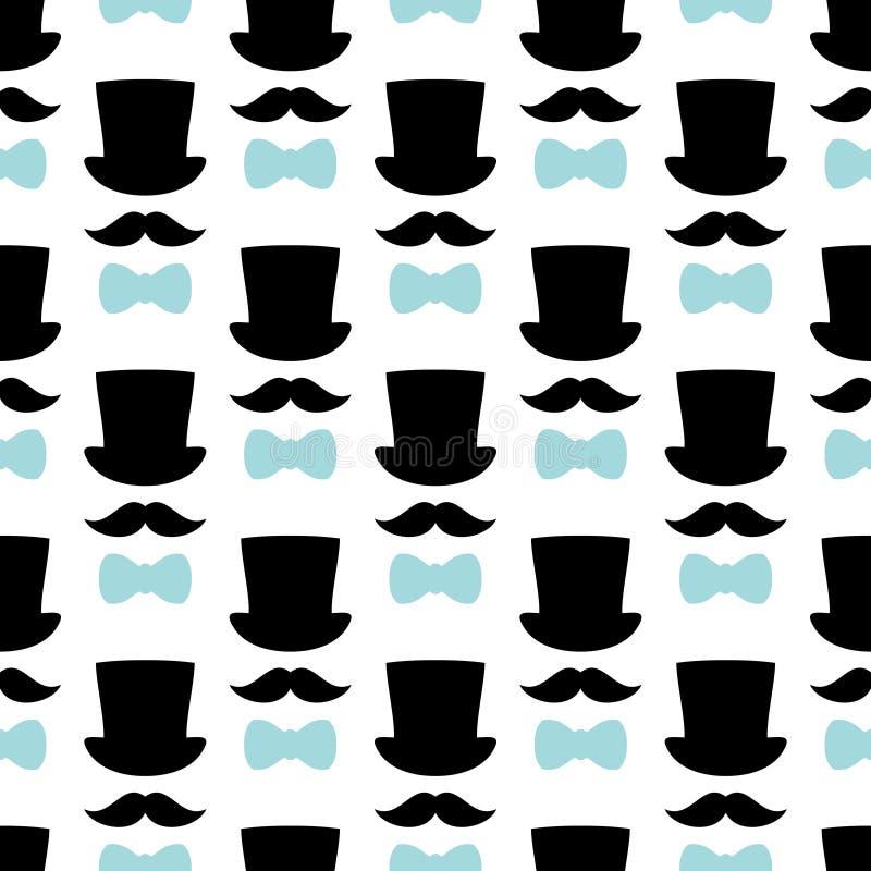 Noir sans couture de moustache et de noeud papillon de cylindre de modèle et bleu illustration de vecteur