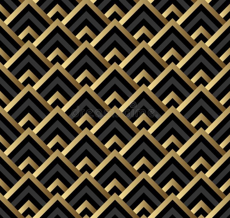 Noir sans couture et modèle carré d'art déco d'or illustration libre de droits