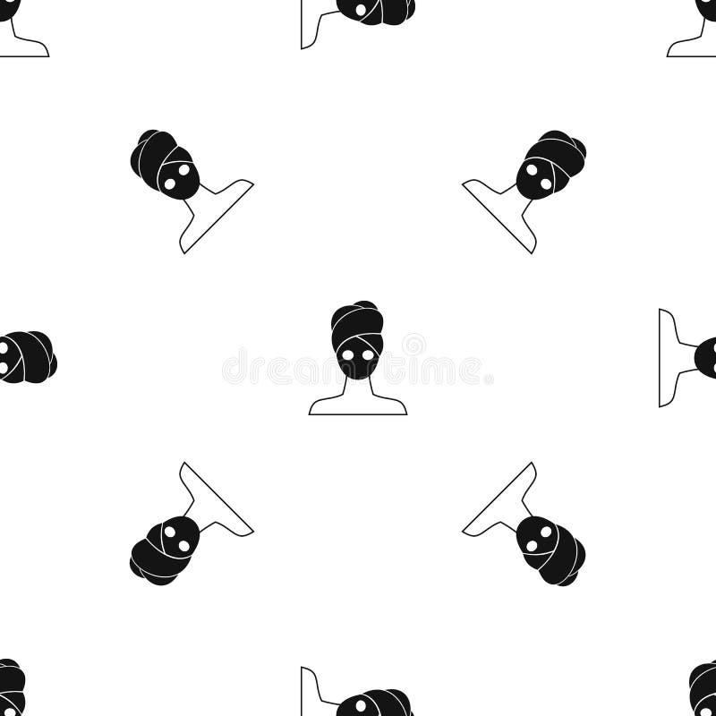 Noir sans couture facial de modèle de masque d'argile de station thermale illustration libre de droits