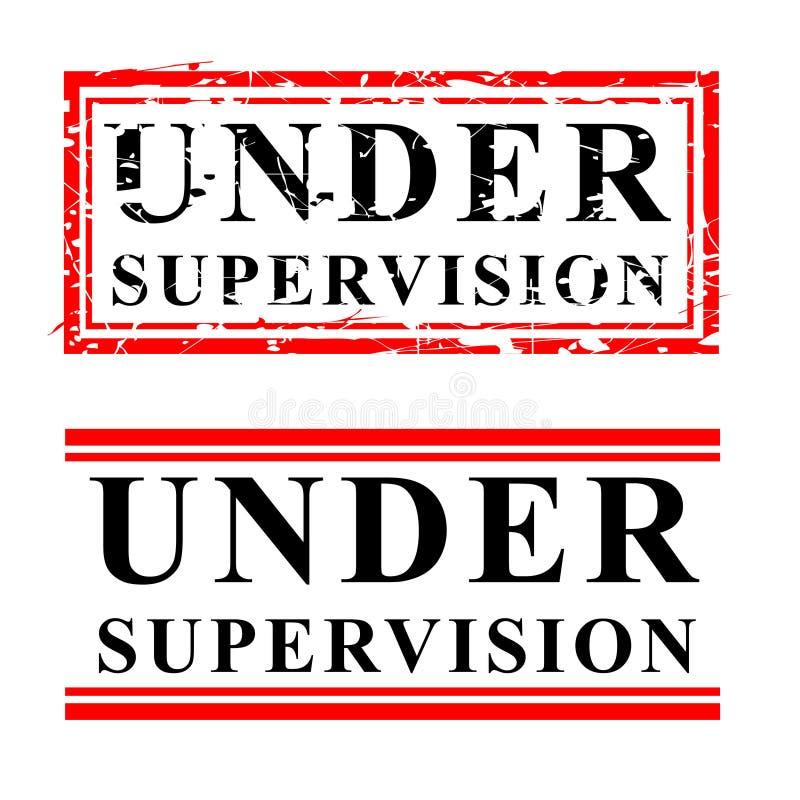 Noir simple de vecteur et tampon en caoutchouc rouge, sous la surveillance, d'isolement sur le blanc illustration libre de droits