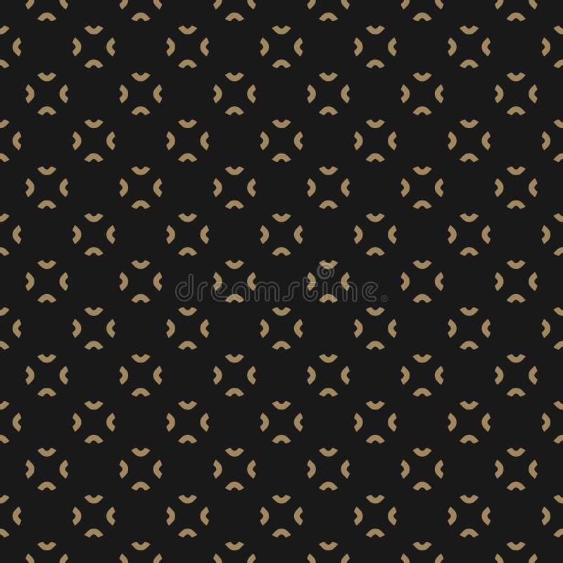 Noir simple et modèle floral abstrait d'or Fond royal illustration stock