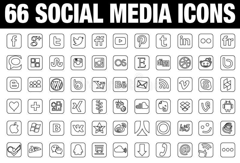 Noir social de 66 icônes de media illustration de vecteur