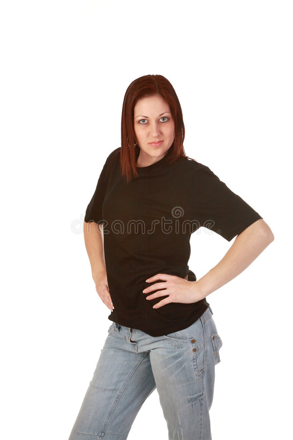 Noir t shirt girl stock images