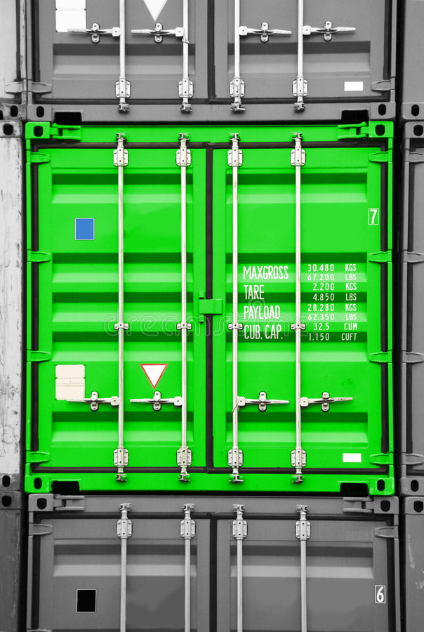 Noir vert/blanc de conteneur image libre de droits