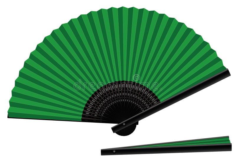 Noir vert ouvert-fermé de fan de main illustration libre de droits