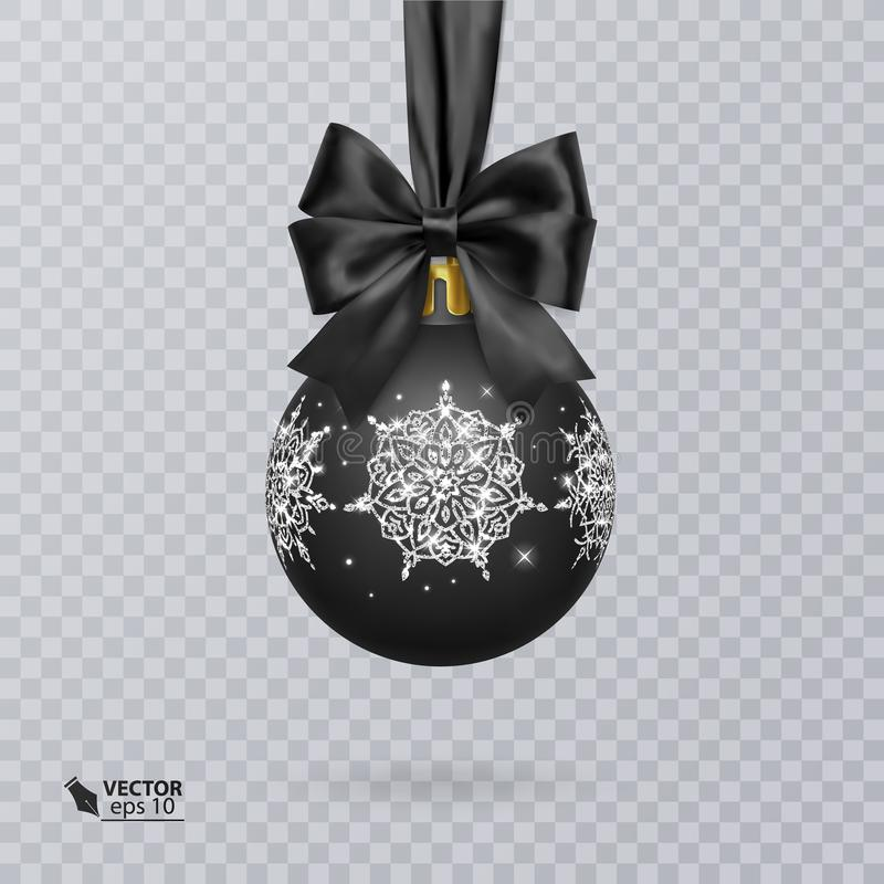 Noircissez, boule de Noël décorée d'un arc noir réaliste v illustration libre de droits