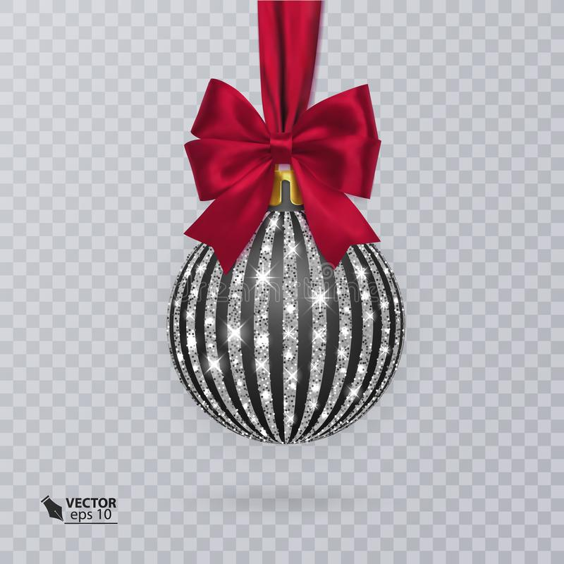 Noircissez, boule de Noël décorée d'un arc rouge réaliste illustration libre de droits