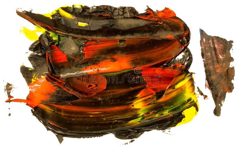 Noircissez et éclaboussez de rouge et de jaune, course de brosse d'huile illustration stock