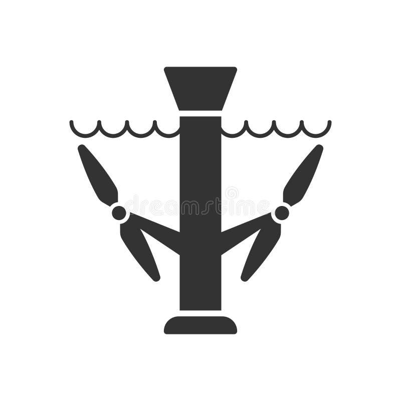 Noircissez l'icône d'isolement de la station d'énergie marémotrice sur le fond blanc Silhouette de station d'énergie marémotrice illustration de vecteur