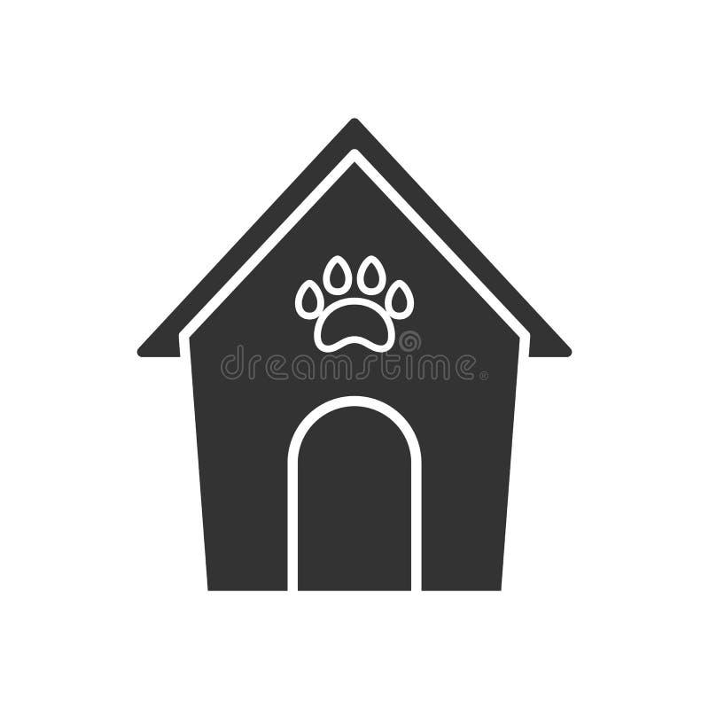 Noircissez l'icône d'isolement du chenil sur le fond blanc Silhouette d'étable illustration de vecteur