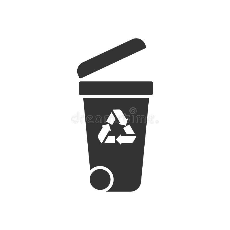 Noircissez l'icône d'isolement du récipient sur le fond blanc Silhouette de poubelle pour des déchets illustration libre de droits