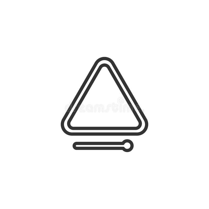 Noircissez l'icône d'isolement d'ensemble de la triangle sur le fond blanc Ligne icône d'instrument de musique de percussion illustration stock