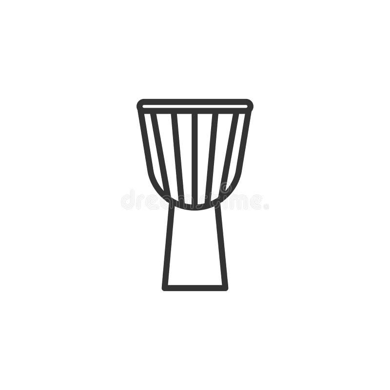 Noircissez l'icône d'isolement d'ensemble du djembe, tambour sur le fond blanc Ligne icône d'instrument de musique de percussion illustration de vecteur