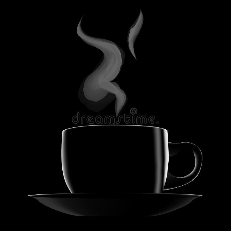 Noircissez la cuvette de café chaude illustration stock