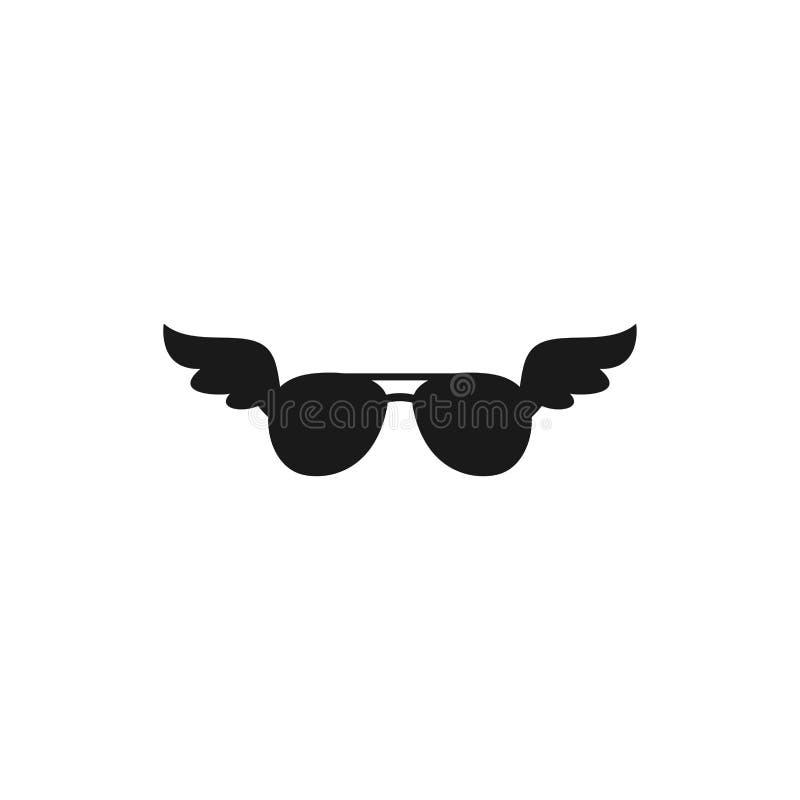 Noircissez les verres de soleil pilotes plats avec l'icône d'ailes D'isolement sur le blanc Voyage, aventure, lunettes d'inspirat illustration libre de droits
