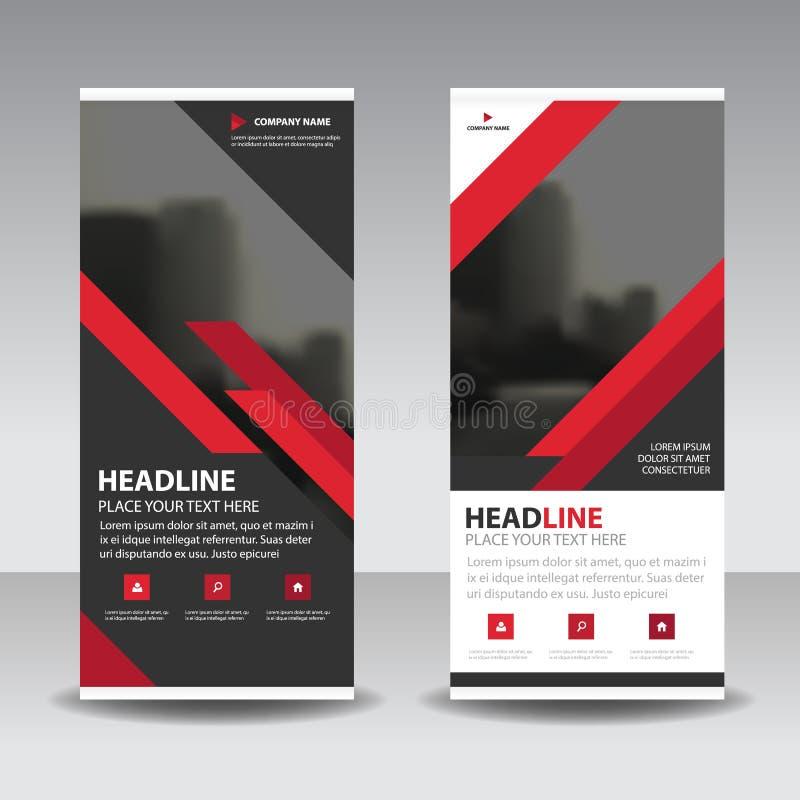 Noirs rouges enroulent la conception de bannière d'insecte de brochure d'affaires, fond géométrique d'abrégé sur présentation de  illustration libre de droits