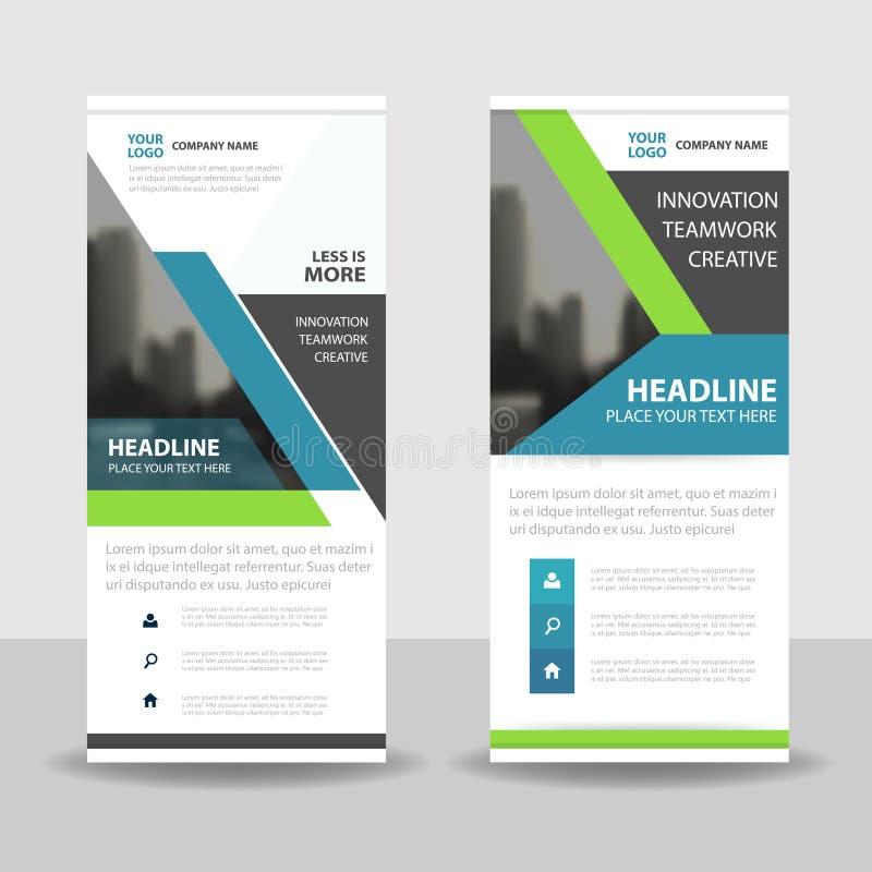 Noirs vert-bleu enroulent la conception de bannière d'insecte de brochure d'affaires, fond géométrique d'abrégé sur présentation  illustration stock