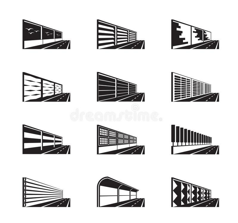 Noise barriers on highway. Vector illustration royalty free illustration