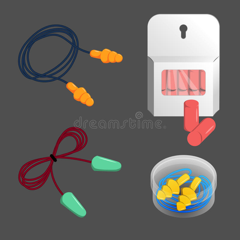 Noise, dust, water protection ear plugs set. vector illustration