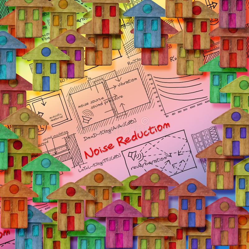 Noise reduction solutions in residential district with formulas about noise reduction in buildings - concept image.  royalty free stock photography