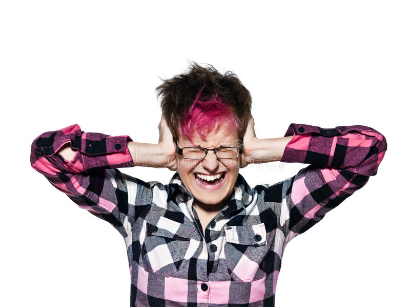 Download Noise And Stress Concept - Woman Covering Her Ears Stock Image - Image: 20946117
