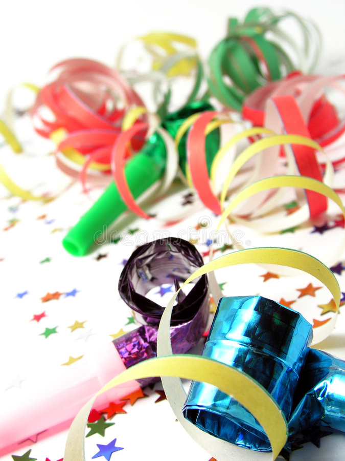 noisemakers konfetti zdjęcia stock