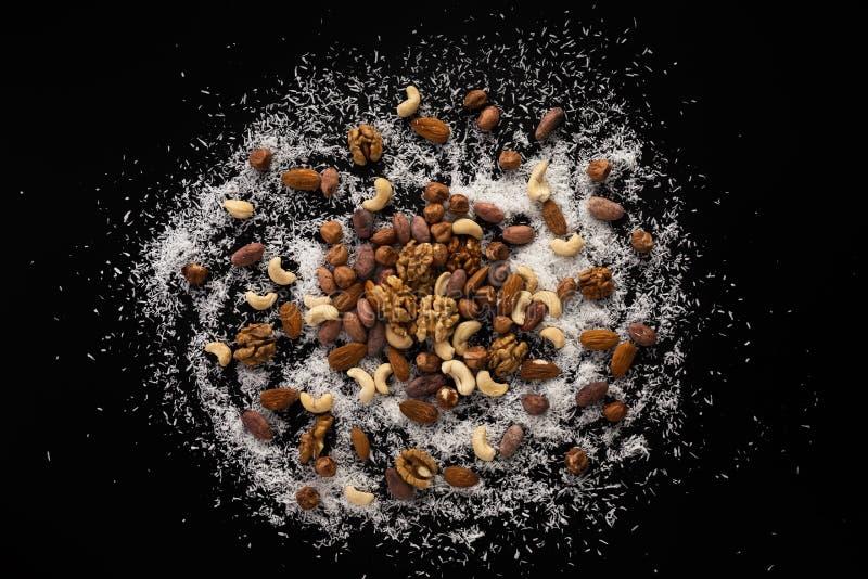 Noisettes, amandes, haricots de cacao, noix, anarcadier et SWA de noix de coco image stock