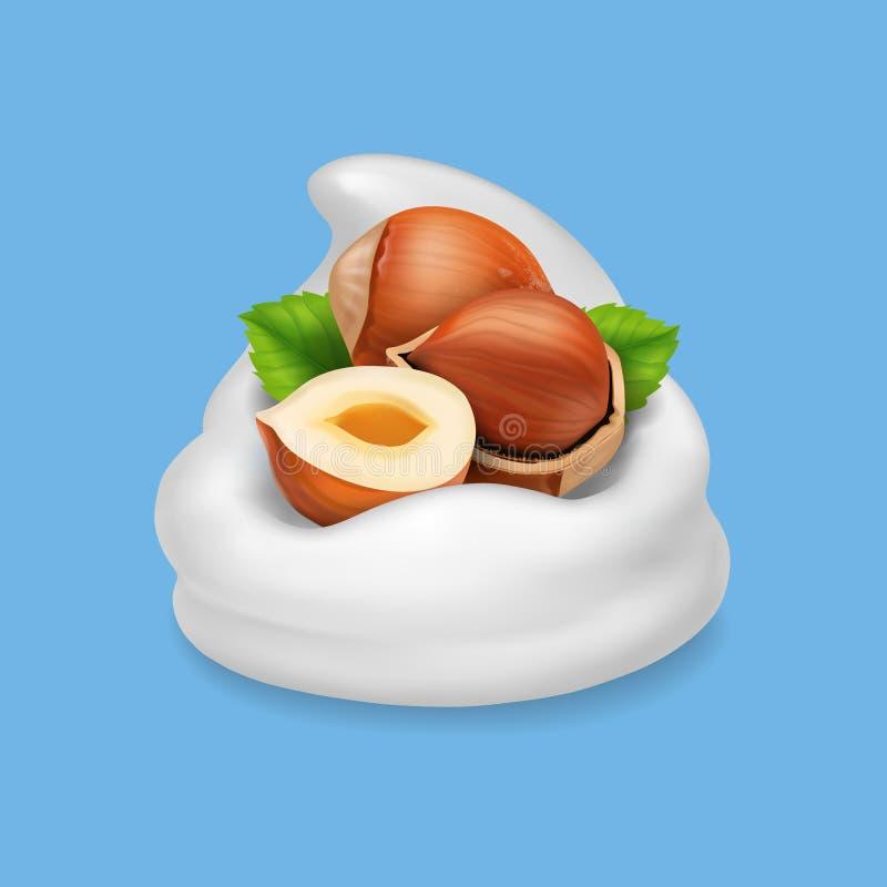 Noisettes dans des laitages naturels réalistes d'illustration de vecteur du yaourt 3d illustration stock