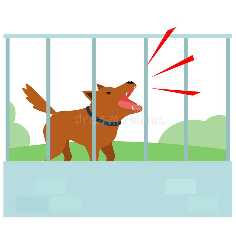 Noisy dog barking all the time in fence of neighbor . Noisy dog barking all the time in fence of neighbor illustration royalty free illustration
