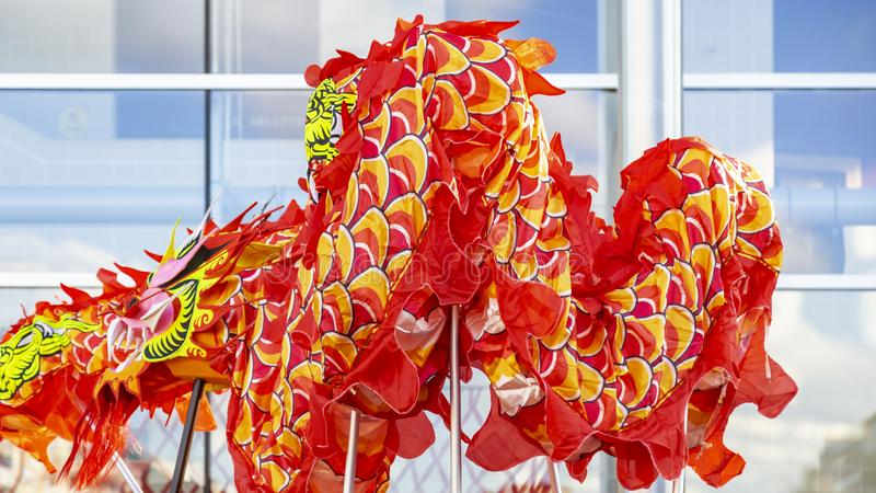 The Chinese Dragon - The Year of the Dog, 2018. Noisy-le-Grand, France - February 18,2018: Detail of the Dragon during the Chinese New Year parade in Nosy-le stock photography