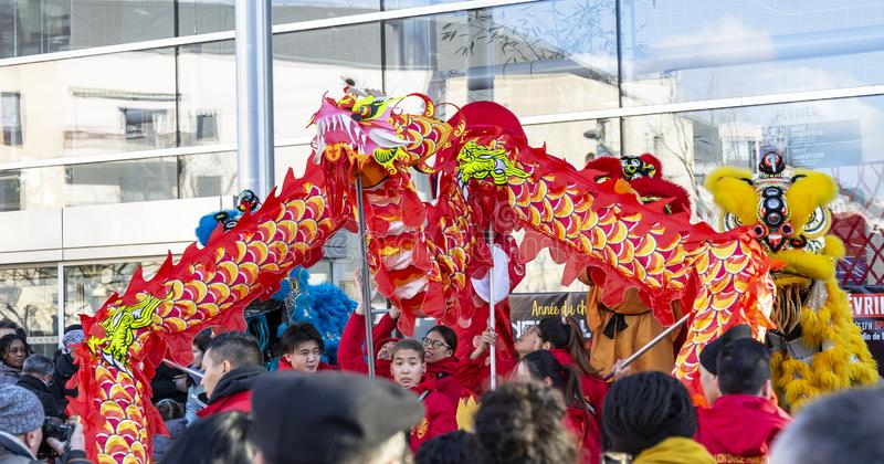The Chinese Dragon - The Year of the Dog, 2018. Noisy-le-Grand, France - February 18,2018: Thee Dragon during the Chinese New Year parade in Nosy-le-Grand on stock image