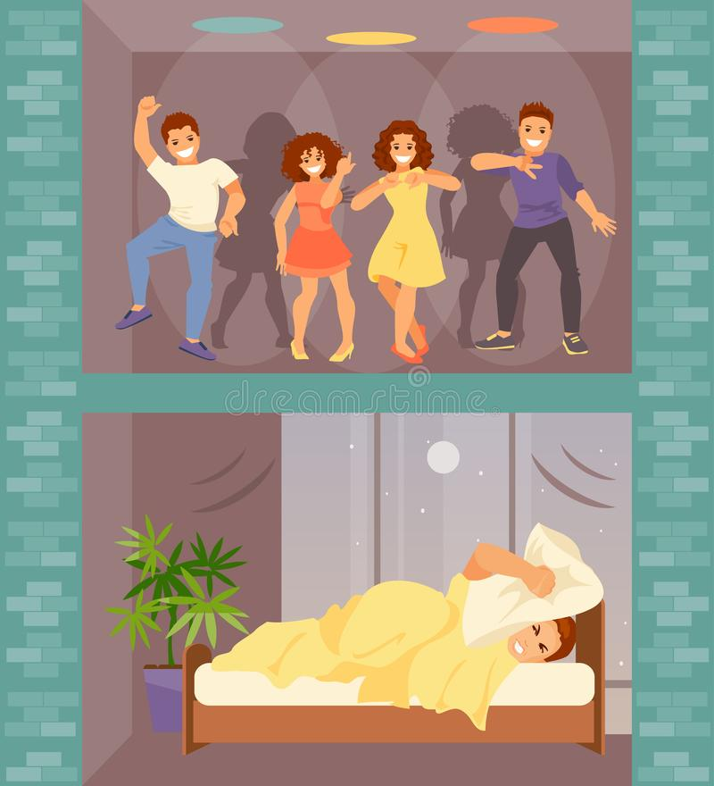 Noisy neighbors vector. Man in bed with insomnia. Noisy neighbors from above arranged a party. Vector illustration royalty free illustration