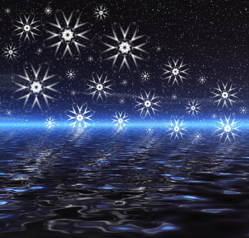 Noite. Água e flocos de neve ilustração stock