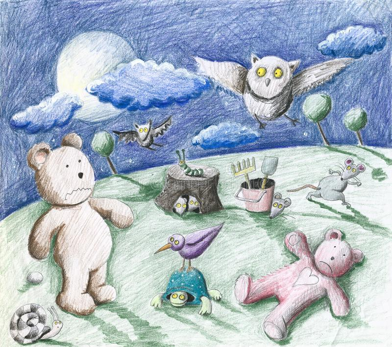 Noite assustador no jardim - animais e brinquedos ilustração stock