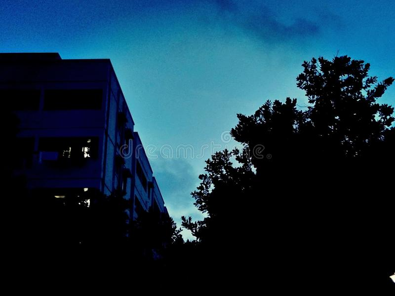 A noite azul fotografia de stock