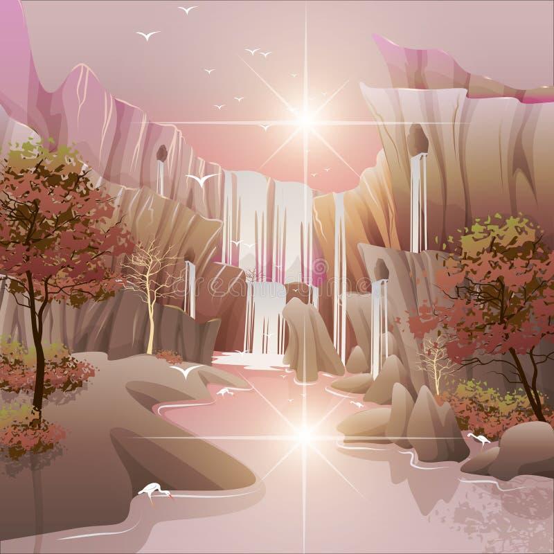 Noite bonita das cachoeiras ilustração do vetor