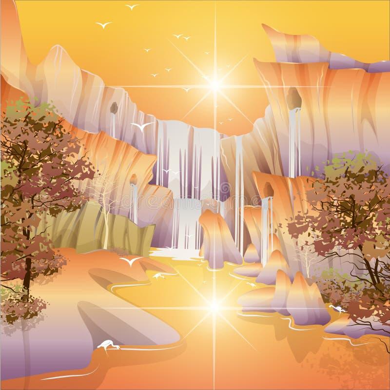Noite bonita das cachoeiras ilustração royalty free