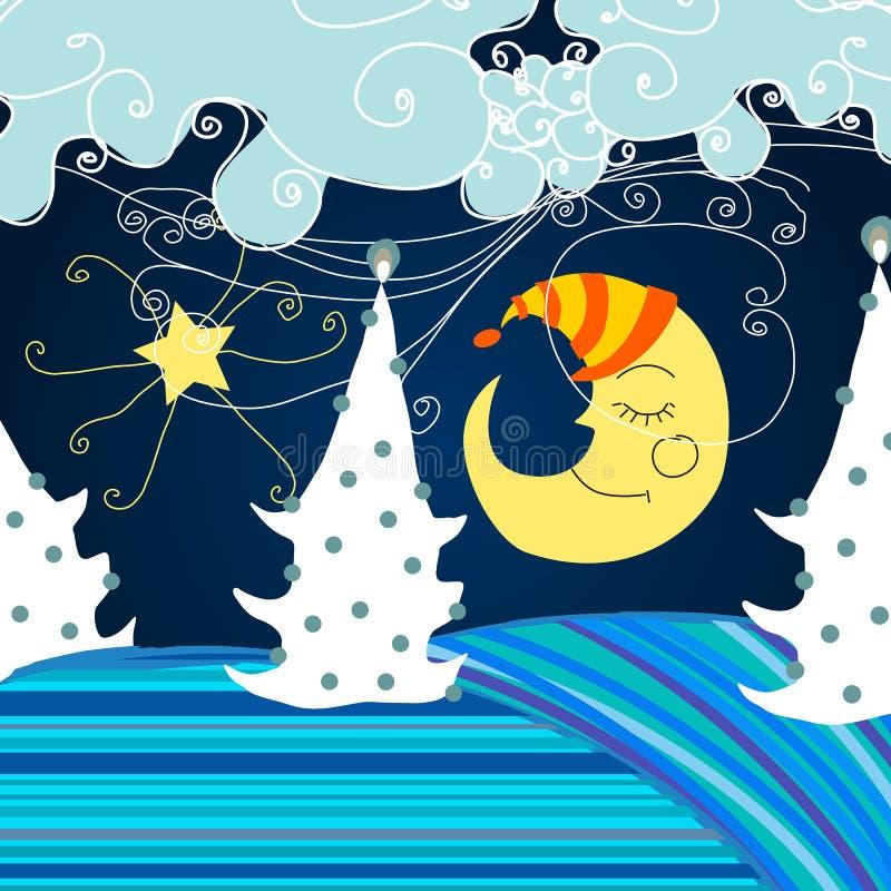 Noite bonito do inverno ilustração do vetor