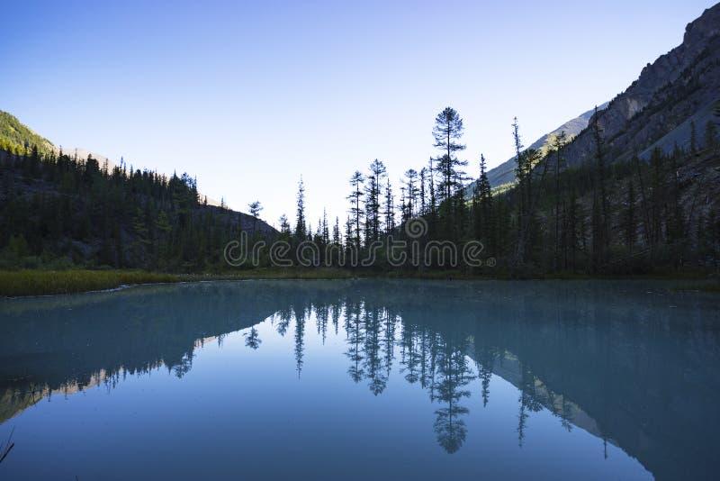Noite brilhante Kucherlinskoe do lago Calma, serenidade Montanhas de Altai, Sibéria Rússia água clara azul no lago da montanha W fotografia de stock royalty free
