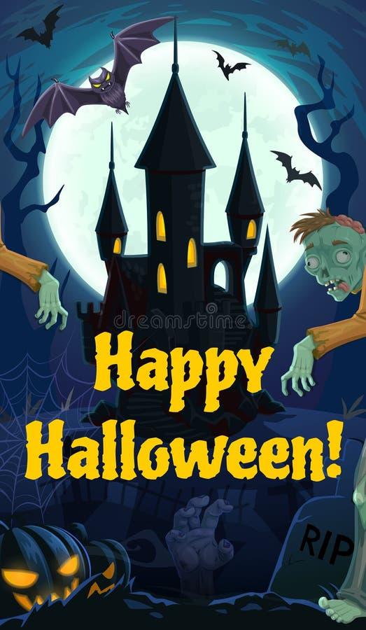 Noite, castelo, zombis e cemitério de Dia das Bruxas ilustração royalty free