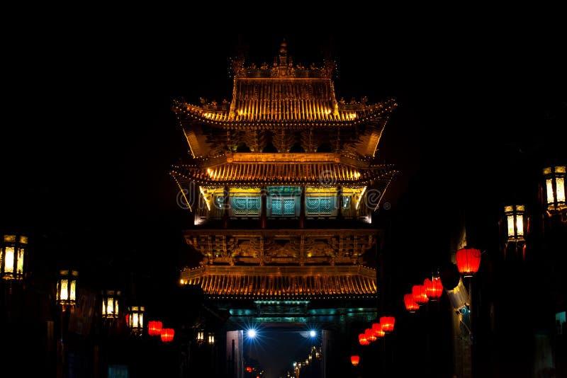 Noite chinesa antiga de Pingyao do Gateway foto de stock royalty free