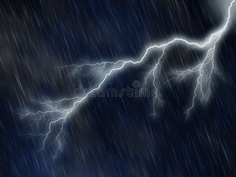 Noite chuvosa e tormentoso ilustração do vetor