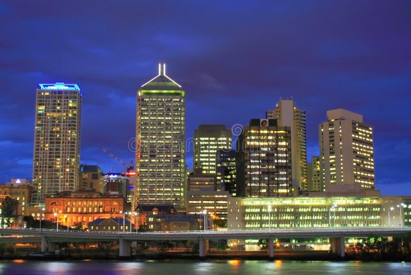 Noite da cidade de Brisbane fotografia de stock royalty free