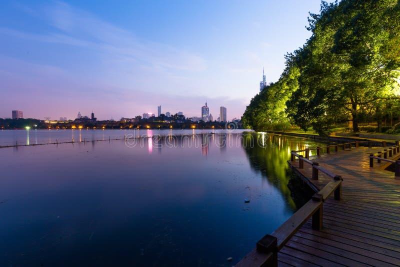 Noite da cidade de Nanjing imagem de stock